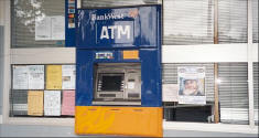 Picture of Ray Pasnen poster by the ATM on Main Street in Pemberton, Western Australia.