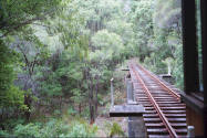 Railroad track in Pemberton Western Australia. Photo from Train.
